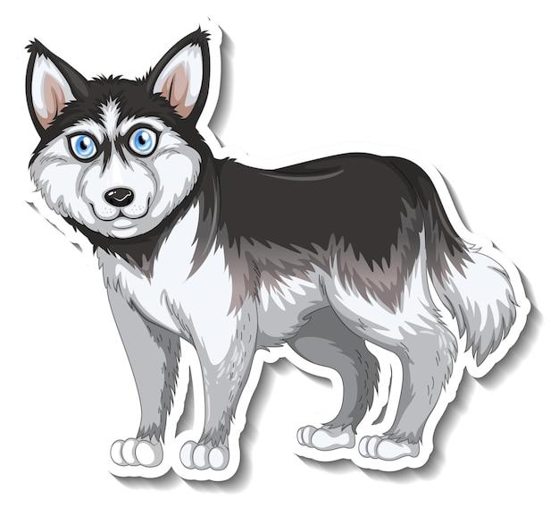 分離されたシベリアンハスキー犬とステッカーのデザイン