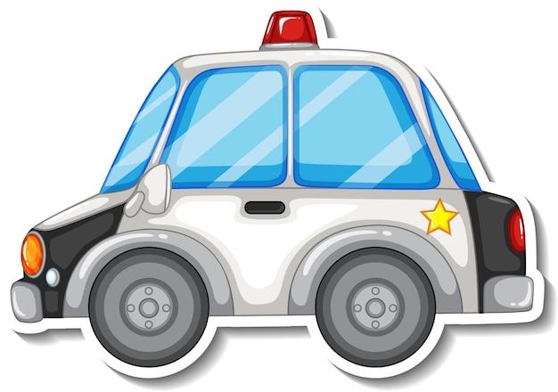 Design adesivo con vista laterale dell'auto della polizia isolata