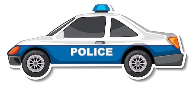 Disegno adesivo con vista laterale dell'auto della polizia isolata