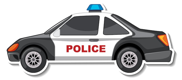 Sticker design with side view of police car isolated
