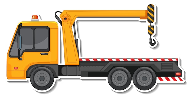Sticker design with side view of tow truck isolated