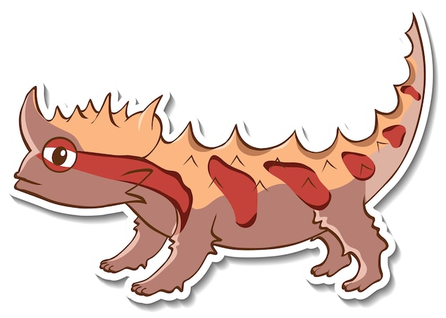 Sticker design with thorny devil lizard isolated