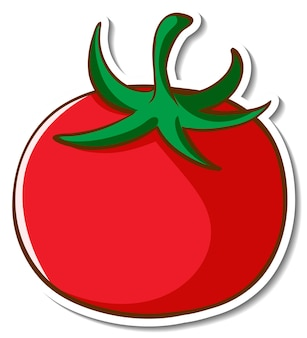 Sticker design with tomato isolated