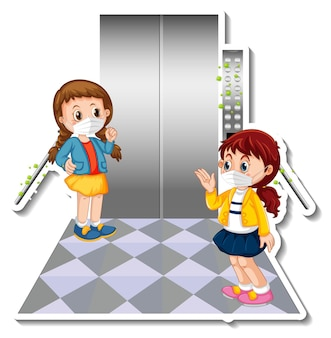 Design adesivo con due bambini che indossano la maschera in ascensore