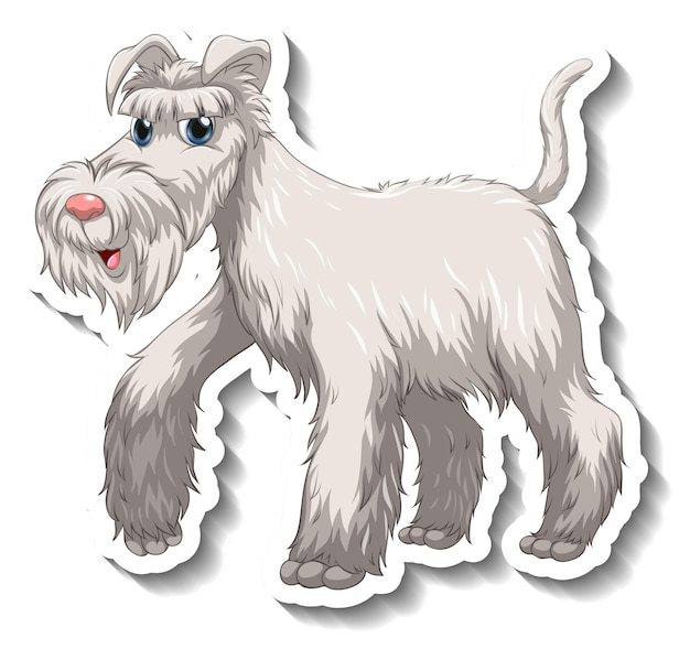 分離された白いシュナウザー犬とステッカーのデザイン
