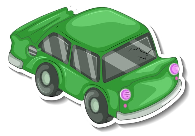 고립 된 난파 자동차와 스티커 디자인
