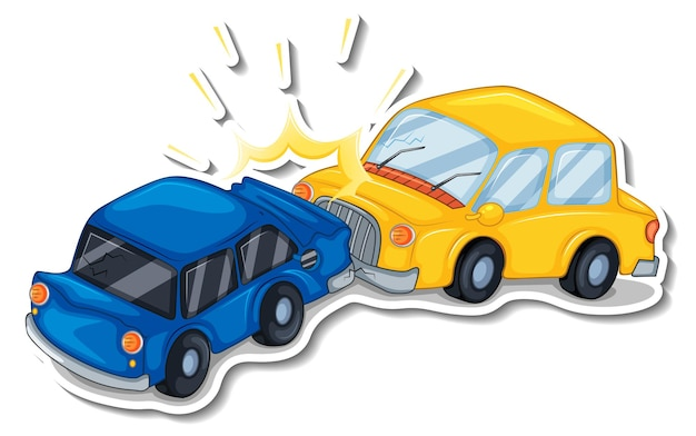 Sticker design with wrecked cars isolated