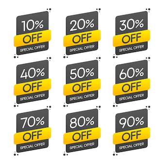 Sticker, exclusive premium best price button. sale special offer. vector set illustration.