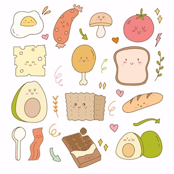 Sticker flat design of bread cheese avocado and egg. breakfast hand drawn doodle icon planner collection set.