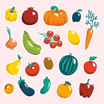 아이들을 위한 스티커. 과일과 채소