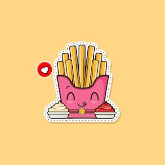 스티커 감자 튀김 그림입니다. 패스트 푸드 아이콘 개념입니다. 플랫 만화 스타일