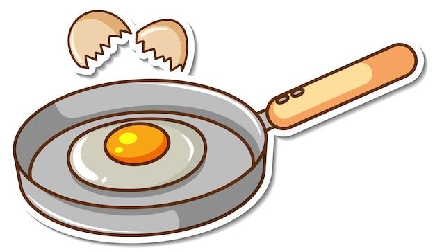 白い背景の上の鍋にステッカー目玉焼き