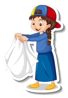 Adesivo un personaggio dei cartoni animati di una ragazza che asciuga un panno