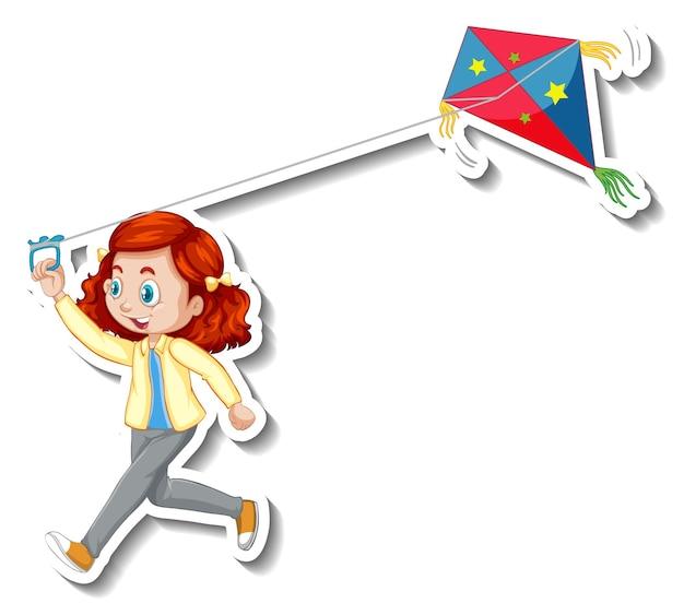 Adesivo una ragazza che gioca personaggio dei cartoni animati aquilone
