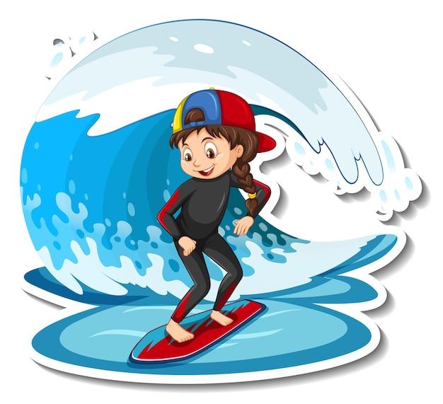 Adesivo una ragazza in piedi sulla tavola da surf con un'onda d'acqua