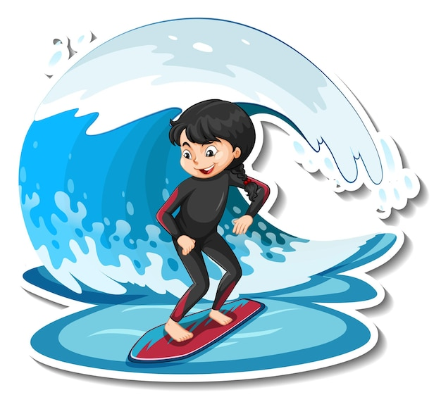 Sticker a girl standing on surfboard with water wave