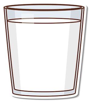 Adesivo bicchiere di succo d'arancia su sfondo bianco