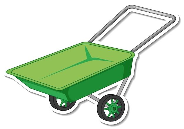 Sticker green wheelbarrow on white background