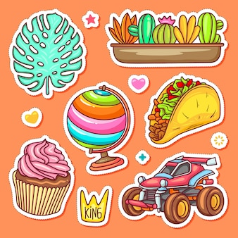 Sticker  hand drawn doodle coloring vector