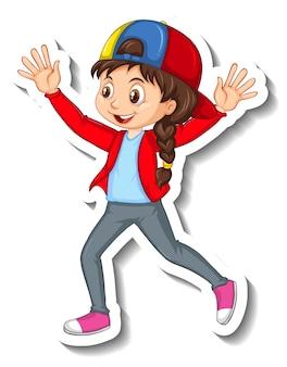 ステッカー幸せな女の子の漫画のキャラクター