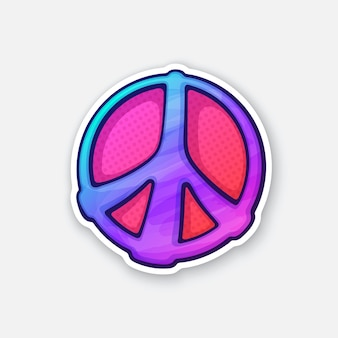 Sticker of hippies colorful symbol of peace sticker in cartoon style vector illustration