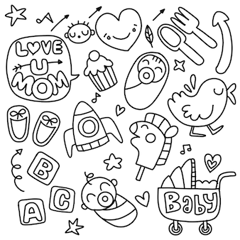 Sticker icons hand drawn doodle  ,children and mother