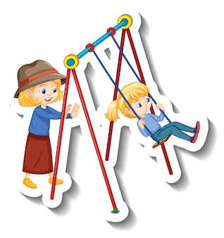 Adesivo bambini che giocano altalena al parco giochi