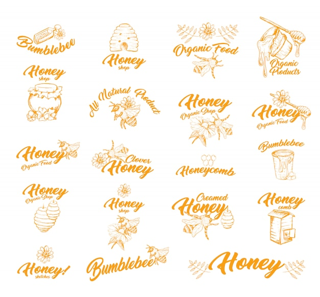 Sticker or labels with bees for honey container
