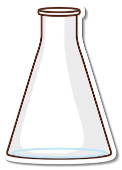 白い背景の上のステッカー実験用ガラス器具