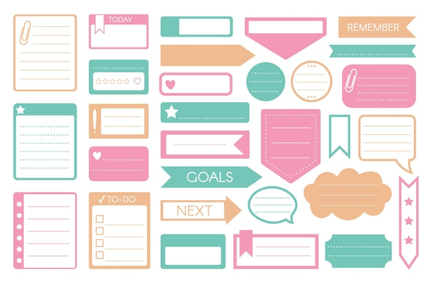To-do sticker.  to-do list, reminder, goal memo, note sticker, weekly daily planner icon set  on white.  speech bubble chat window, tape, arrow, paper page sheet shape illustration