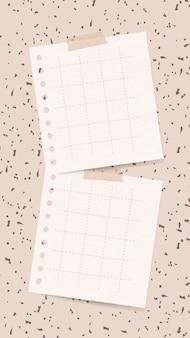 Nota di carta di vettore di nota adesivo su sfondo femminile