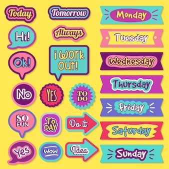 To do sticker. notepad organizer planner check status agenda trendy lettering  collection.