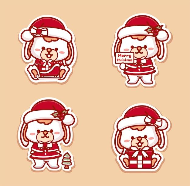 크리스마스를 축하하는 귀여운 토끼 소녀의 스티커입니다. 선물, 징글벨, 메리 크리스마스 텍스트를 들고 있습니다.