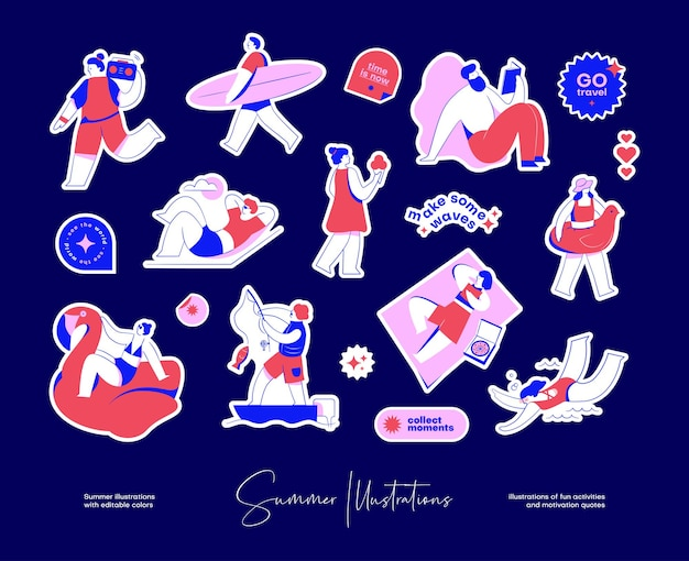 Sticker pack with colourful illustrations of fun activities and motivation quotes