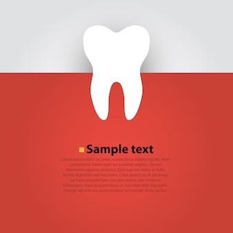 赤い背景の上のステッカー紙の歯。