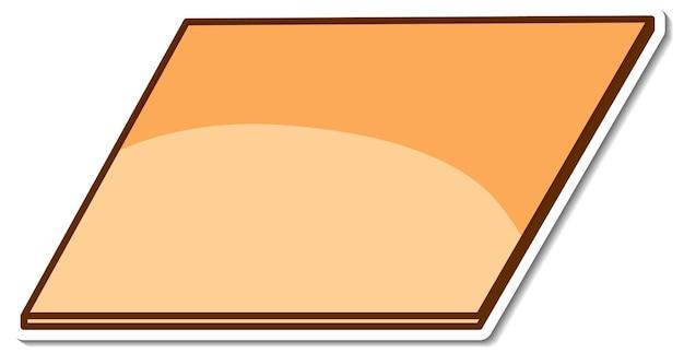 Наклейка в форме параллелограмма на белом фоне