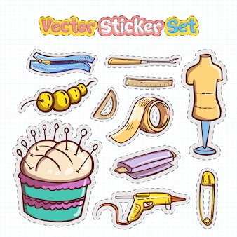 Sticker patches set of sewing icon
