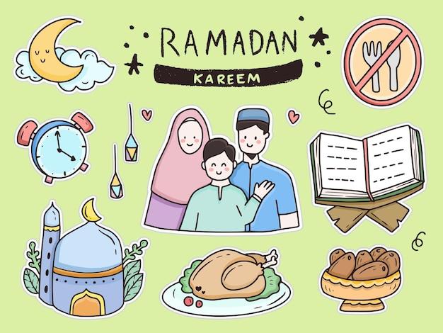 Sticker ramadan kareem family doodle set
