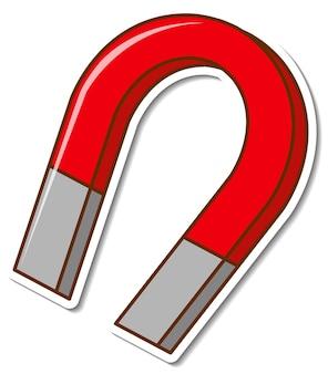 白い背景の上のステッカー赤い馬蹄形磁石