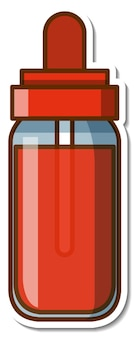 Sticker red ink bottle on white background