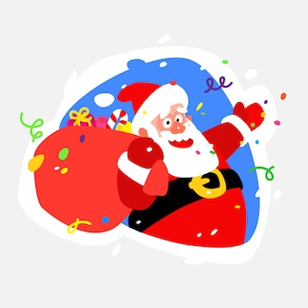 Sticker santa claus. vector icon illustration of santa claus.