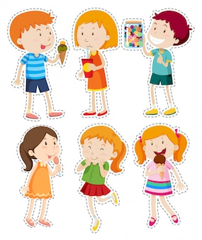 Sticker set of boys and girls