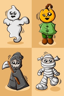 Sticker set of character halloween illustration