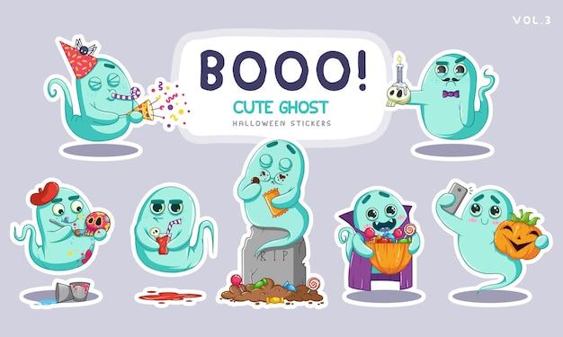 다른 얼굴 표정으로 귀여운 만화 유령의 스티커 세트