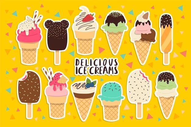 黄色の背景にさまざまなカラフルなアイスクリームのステッカーセットテンプレート。アイスクリームセットステッカー
