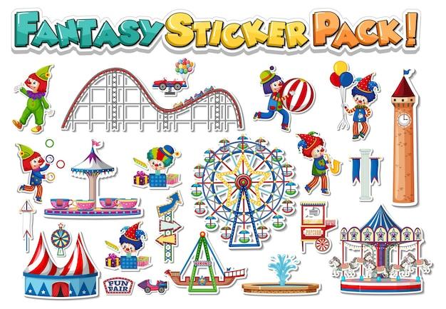 놀이 공원과 유원지 개체가 있는 스티커 세트