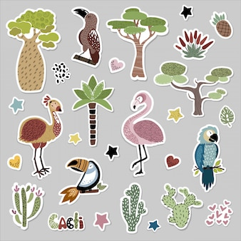 Sticker set with cute african birds and plants