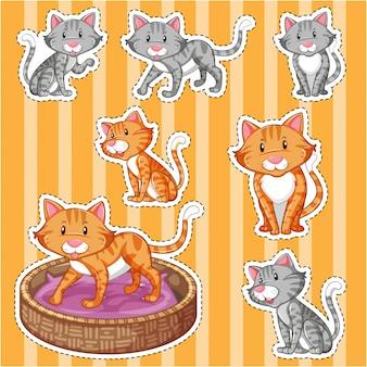 黄色の背景にかわいい猫が付いているステッカーセット