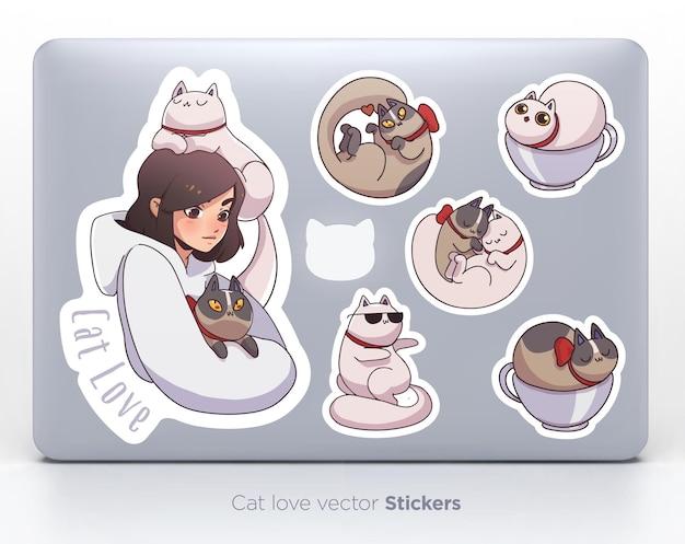 Набор наклеек с милой девушкой и кошками. векторная иллюстрация