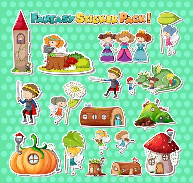 Set di adesivi con diversi personaggi dei cartoni animati fantasy